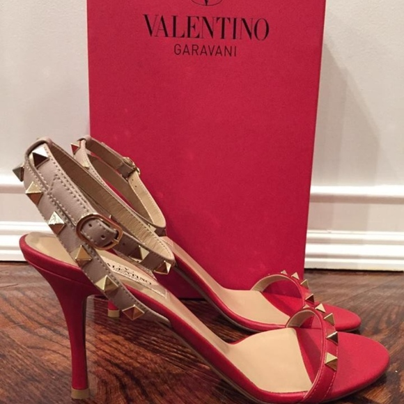 9acce4459e43 Valentino Rockstud Red Nude Leather Ankle Strap